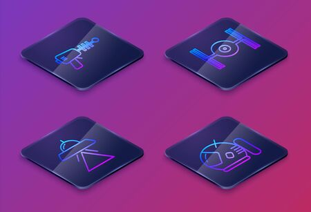 Set Isometric line Ray gun, UFO flying spaceship, Cosmic ship and Astronaut helmet. Blue square button. Vector