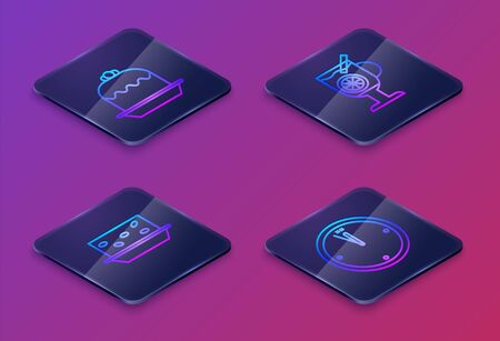 Set Isometric line Cake, Nougat with nuts, Mulled wine with glass of drink and Clock. Blue square button. Vector