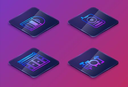 Set Isometric line Vinyl disk, Drum with drum sticks, Music player and Drums. Blue square button. Vector Illusztráció