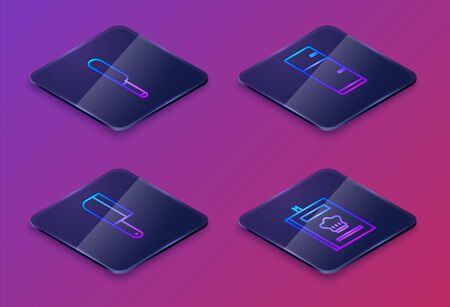 Set Isometric line Knife, Meat chopper, Refrigerator and Cookbook. Blue square button. Vector Illustration