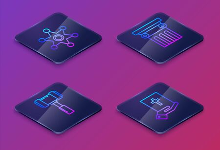 Set Isometric line Hexagram sheriff, Judge gavel, Law pillar and Oath on the Holy Bible. Blue square button. Vector Vectores
