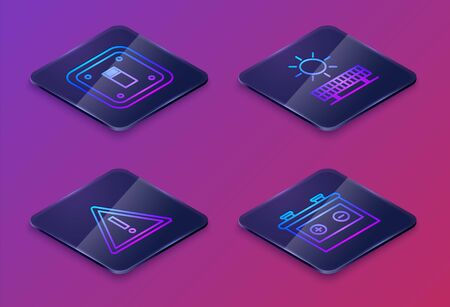 Set Isometric line Electric light switch, Exclamation mark in triangle, Solar energy panel and sun and Car battery. Blue square button. Vector