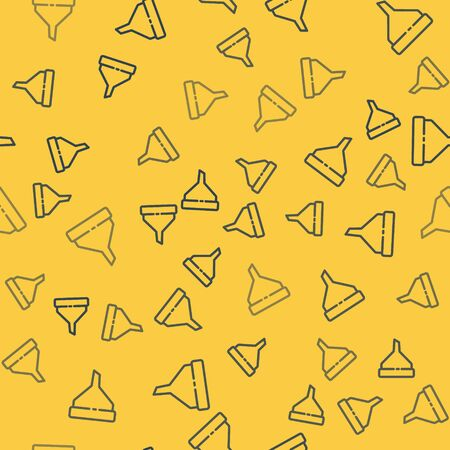 Blue line Funnel or filter icon isolated seamless pattern on yellow background. Vector Illustration