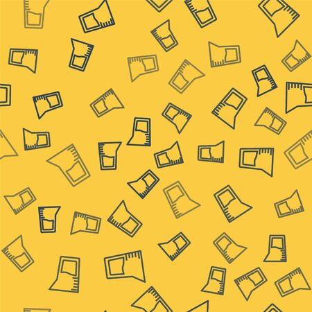 Blue line Laboratory glassware or beaker icon isolated seamless pattern on yellow background. Vector Illustration