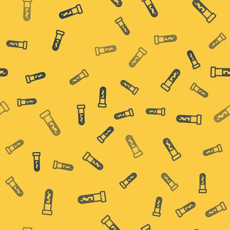 Blue line Test tube and flask chemical laboratory test icon isolated seamless pattern on yellow background. Laboratory glassware sign. Vector Illustration