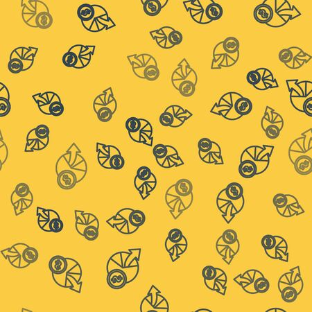 Blue line Money and diagram graph icon isolated seamless pattern on yellow background. Financial analytics, budget planning, finance managemen. Vector Illustration 일러스트
