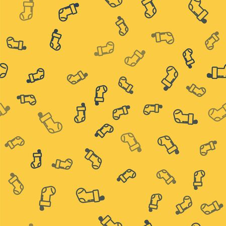 Blue line Christmas stocking icon isolated seamless pattern on yellow background. Merry Christmas and Happy New Year. Vector Illustration