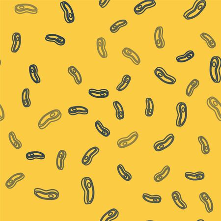 Blue line Steak meat icon isolated seamless pattern on yellow background. Vector Illustration Illustration