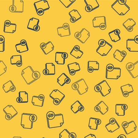Blue line Finance document icon isolated seamless pattern on yellow background. Paper bank document with dollar coin for invoice or bill concept. Vector Illustration
