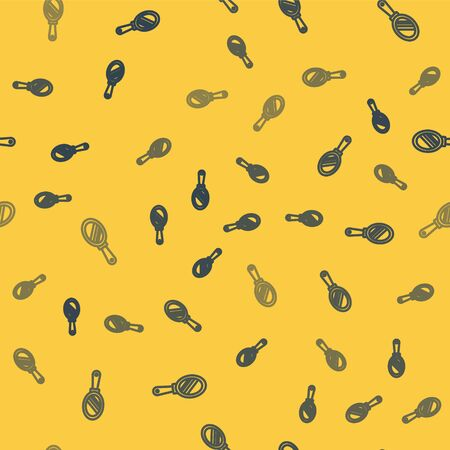 Blue line Hand mirror icon isolated seamless pattern on yellow background. Vector Illustration