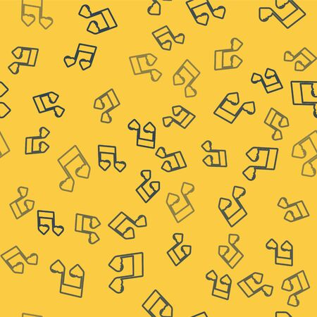 Blue line Music note, tone with hearts icon isolated seamless pattern on yellow background. Valentines day. Vector Illustration