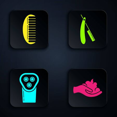 Set Shaving gel foam on hand, Hairbrush, Electrical hair clipper or shaver and Straight razor. Black square button. Vector