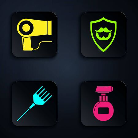 Set Cream or lotion cosmetic tube, Hair dryer, Hairbrush and Mustache and beard on shield. Black square button. Vector