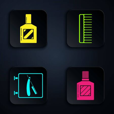 Set Aftershave, Aftershave, Barbershop with razor and Hairbrush. Black square button. Vector
