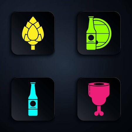 Set Chicken leg, Hop, Beer bottle and Beer bottle and wooden barrel. Black square button. Vector