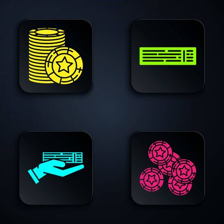 Set Casino chips, Casino chips, Hand holding deck of playing cards and Deck of playing cards. Black square button. Vector