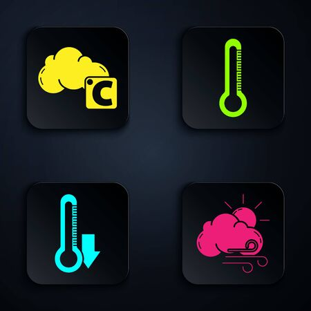 Set Windy weather, Celsius and cloud, Thermometer and Thermometer. Black square button. Vector
