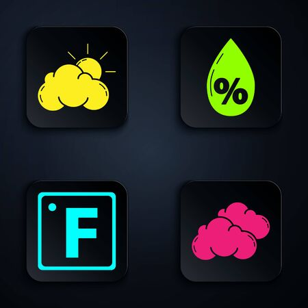 Set Cloud, Sun and cloud weather, Fahrenheit and Water drop percentage. Black square button. Vector 向量圖像