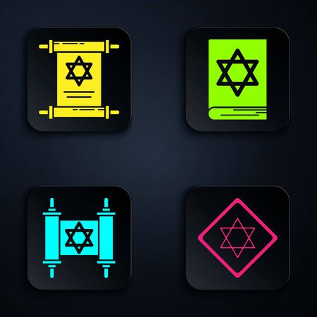 Set Star of David, Torah scroll, Torah scroll and Jewish torah book. Black square button. Vector