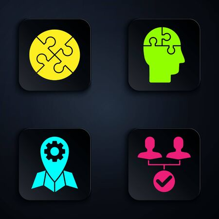 Set Project team base, Piece of puzzle, Location job and Human head puzzles strategy. Black square button. Vector Иллюстрация