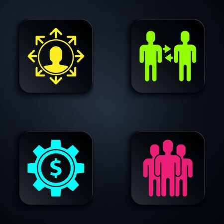 Set Users group, Project team base, Gear with dollar symbol and Project team base. Black square button. Vector