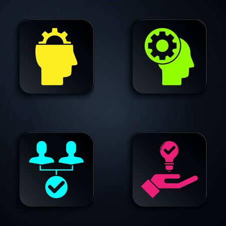 Set Light bulb in hand, Human with gear inside, Project team base and Human head with gear inside. Black square button. Vector