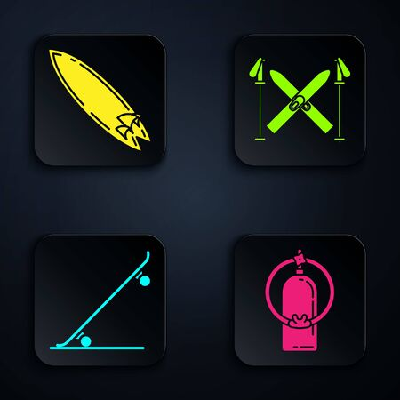 Set Aqualung, Surfboard, Skateboard and Ski and sticks. Black square button. Vector