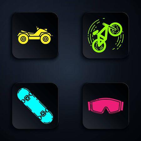 Coloque gafas de esquí, vehículo todo terreno o motocicleta ATV, truco de patineta y truco de bicicleta. Botón cuadrado negro. Vector Ilustración de vector