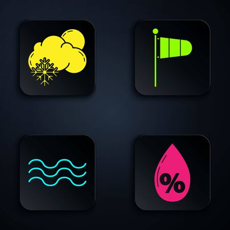 Set Water drop percentage, Cloud with snow and sun, Waves and Cone meteorology windsock wind vane. Black square button. Vector