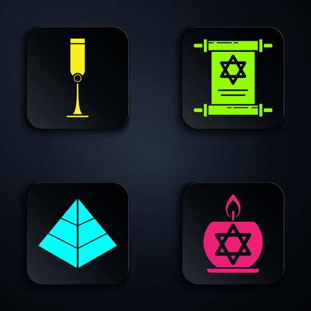 Set Burning candle in candlestick with star of david, Jewish goblet, Egypt pyramids and Torah scroll. Black square button. Vector