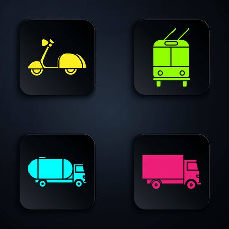 Set Delivery cargo truck vehicle, Scooter, Tanker truck and Trolleybus. Black square button. Vector Illustration