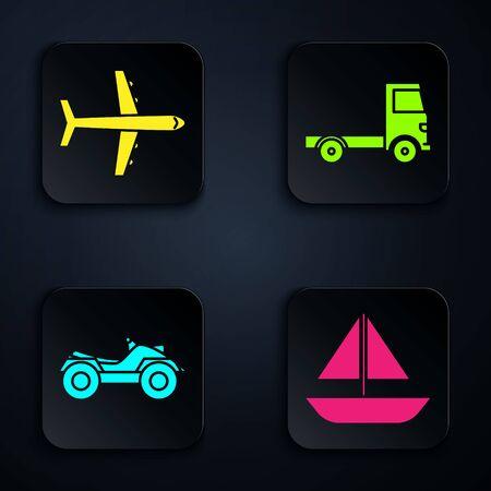Establecer yate velero o velero, avión, vehículo todo terreno o motocicleta ATV y vehículo de camión de carga de entrega. Botón cuadrado negro. Vector