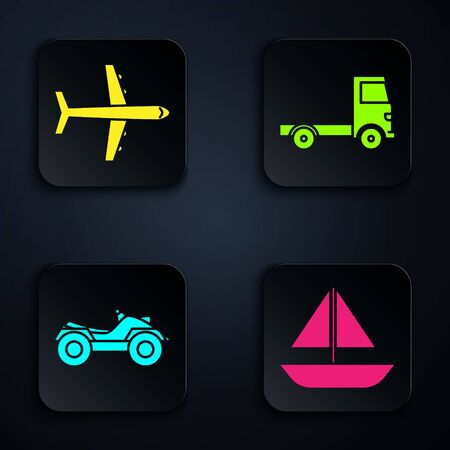 Set Yacht sailboat or sailing ship, Plane, All Terrain Vehicle or ATV motorcycle and Delivery cargo truck vehicle. Black square button. Vector