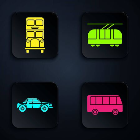 Set Bus, Double decker bus, Sedan car and Tram and railway. Black square button. Vector Stock Illustratie