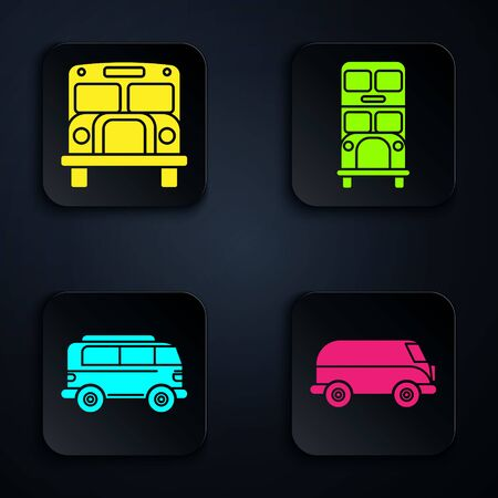 Set Retro minivan, School Bus, Retro minivan and Double decker bus. Black square button. Vector