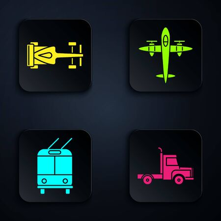 Set Delivery cargo truck vehicle, Formula race car, Trolleybus and Old retro vintage plane. Black square button. Vector