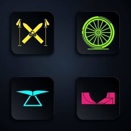 Set Skate park, Ski and sticks, Hang glider and Bicycle wheel. Black square button. Vector