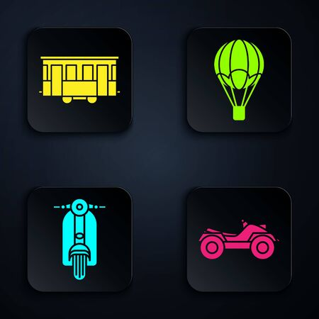 Set All Terrain Vehicle or ATV motorcycle, Old city tram, Scooter and Hot air balloon. Black square button. Vector
