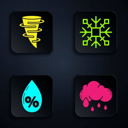 Set Cloud with rain, Tornado, Water drop percentage and Snowflake. Black square button. Vector