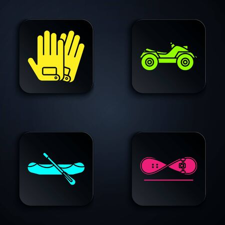 Set Skateboard trick, Gloves, Rafting boat and All Terrain Vehicle or ATV motorcycle. Black square button. Vector