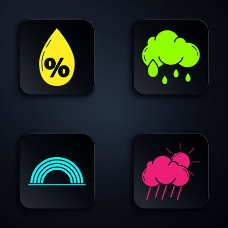 Set Cloud with rain and sun, Water drop percentage, Rainbow with clouds and Cloud with rain. Black square button. Vector 向量圖像