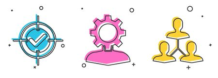 Set Target and check mark, Human with gear inside and Project team base icon. Vector Ilustracja