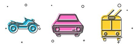 Set All Terrain Vehicle or ATV motorcycle, Car and Trolleybus icon. Vector Vectores
