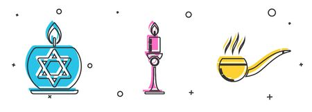 Set Burning candle in candlestick with star of david, Burning candle in candlestick and Smoking pipe with smoke icon. Vector