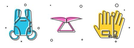 Set Parachute, Hang glider and Gloves icon. Vector 일러스트