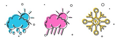 Set Cloud with rain and sun, Cloud with rain and sun and Snowflake icon. Vector