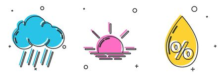 Set Cloud with rain, Sunrise and Water drop percentage icon. Vector