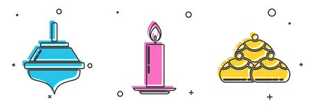 Set Hanukkah dreidel, Burning candle in candlestick and Jewish sweet bakery icon. Vector Stock Illustratie