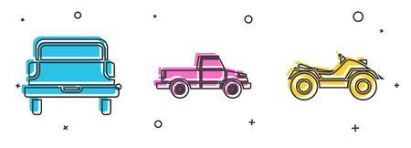 Establecer camioneta pickup, camioneta pickup y vehículo todo terreno o ícono de motocicleta ATV. Vector