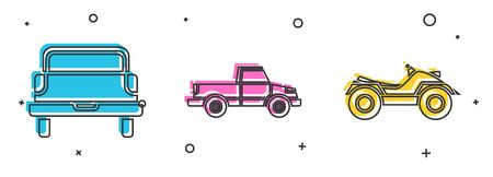 Set Pickup truck, Pickup truck and All Terrain Vehicle or ATV motorcycle icon. Vector